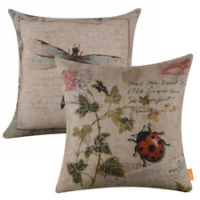 Set of 2 French Country Dragonfly Cushion Cover Botanical Ladybug Pillow Case
