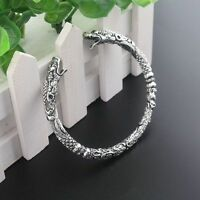 1*Vintage Viking Bracelet Two Headed Wolf Bangles Wristband Alloy Jewelry Silver