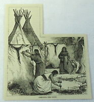 1883 magazine engraving ~ AMERICAN INDIAN WOMEN DRESSING THE SKINS
