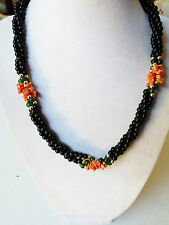 "Multi twist strand black onyx coral jade beads necklace  18""L"