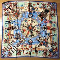 HERMES Paris Authentic Kachinas Pattern 100% Silk Scarf Shawl Stole Carre 90