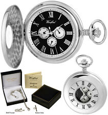 Woodford Half Hunter Pocket Watch 3-Dial Giorno/Data Quarzo CROMO GRATIS Incisione 1246