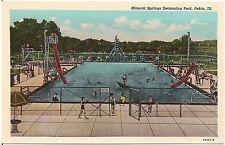 Mineral Springs Swimming Pool in Pekin IL Postcard