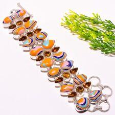 "Rainbow Calsilica, Citrine Gemstone Silver Fashion Jewelry Bracelet 7-8"" SB-766"