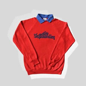 Vintage 1990s 80s Collared Red Jumper Usa Sweater 90s