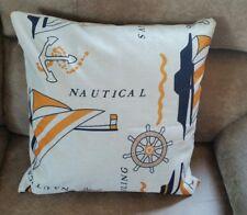 Throw Pillow Cover Sailboat Boat Nautical Pattern  17 x 17 Anchor Ships Wheel