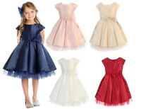 New Flower Girls Satin Tulle Pleated Dress Wedding Easter Christmas Party 711