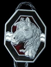 SOUTHWEST STYLE HORSE HEAD PEWTER BOLO TIE WESTERN TIE NEW!