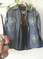 1970s Boho Hippy Folk Embroidered Denim Shirt Size 8