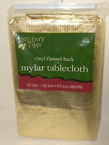 """NEW Gold Tablecloth  60"""" x 84""""  Oblong Vinyl Flannel Mylar Christmas Holiday"""