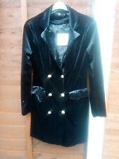 Missguided Black Velvet Blazer Dress Frock Coat Size 10