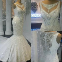 Shiny Beaded Lace Satin Mermaid Wedding Dress White/Ivory Zipper New Bridal Gown