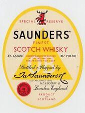 SAUNDERS' FINEST SCOTCH WHISKY: Whisky label (C19414).