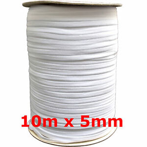 10m x 5mm weiß soft Gummiband kochfest leichter Zug Gummilitze Maske nähen