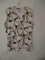 IZOD XFG Women's Size Medium Sleeveless Brown and White Polo Shirt Blouse