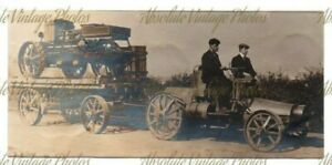 OLD PHOTOGRAPH UNUSUAL AGRICULTURAL TRACTORS ( LANDERSON ? ) VINTAGE C.1908