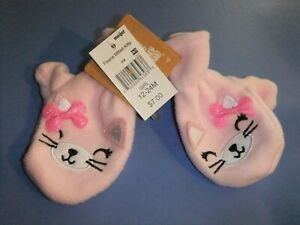 NWT Ages 2T-4T Toddler Girls Pair Mittens Cozy Fleece Kitty Cat Pink