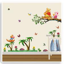 Winnie L'ourson Autocollant Mural Animal Jungle Arbre Crèche Bébé
