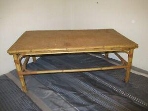 Vintage Decorative Bambo Boho Wicker Rattan Wood Low Style Coffee Table