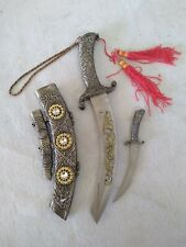 Two Knife Knives Dagger Collectible w Sheath Rhinestone Curved Fantasy