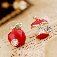 Mode Femme Boucle D'oreille Fruit Pomme Strass Crystal Bijoux Diamant Cadeau