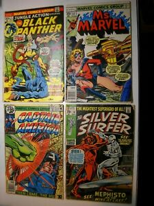 4 Marvel Comic Jungle Action 7 Cap 230 Silver Surfer 16 MS Marvel 17 Mystique