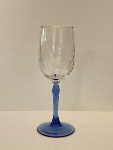 Vintage Lenox Crystal Wine Glass Cobalt Blue Stem Dual Swag Draped Gold Rim