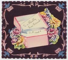 VINTAGE GARDEN FLOWERS FRIEND HELLO CHRYSANTHEMUM BIRDS PINK ALUMINUM CARD PRINT
