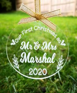 First Christmas as Mr and Mrs Personalised Bauble Acrylic 1st Xmas Gift Decor