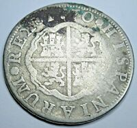 1770 Spanish Silver 2 Reales Antique 1700's Colonial Cross Pirate Treasure Coin