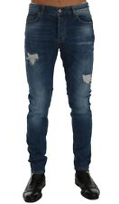 NEW $400 FRANKIE MORELLO Jeans Blue Wash Torn Dundee Slim Fit Stretch s. W30