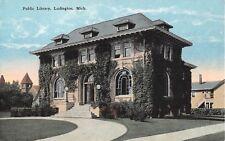 Michigan postcard Ludington Public Library
