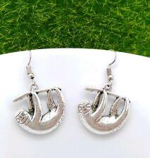 """Drop Earrings Gift Idea🎄ðŸŽ�🎄ðŸŽ�🎄𠟎""""🎄 One Pair of Tibetan Silver Sloth"""