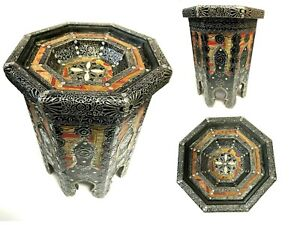 """Moroccan End Table Silver Filigree and Leather Bone with Glass Top 14"""" W x 20"""" H"""