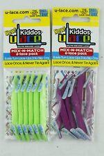 U-LACE Kiddos No Tie Shoelaces Bright Green Plum Purple