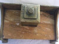 Antique Inkwell Brass Or Bronze With Stone Base (y)
