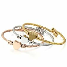 3PCS Lot Womens Love Heart Stainless Steel Cable Bangle Cuff Bracelet Jewelry