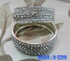 Asian Bollywood Crystal Bridal Jewelery Eid Wedding Metal Bangle Bracelet Kada
