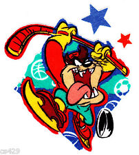 "4"" Looney tunes taz devil sports star hockey fabric applique iron on character"