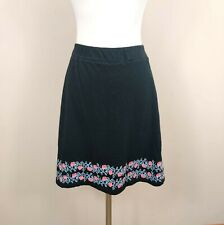 J. Jill XS Petite Floral Embroidered Cotton Skirt A-Line Pull On Elastic Waist