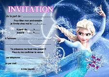 5 ou 12 cartes invitation anniversaire REINE DES NEIGES réf 07