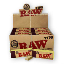 50 RAW Filter Tips Rolling Paper Full Box Genuine Roaches Natural Chlorine Free