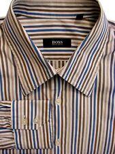 HUGO BOSS Shirt Mens 16.5 L White - Blue Brown & Grey Stripes