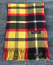 100% Cashmere Scarf Yellow Red Black Check Plaid Made in Scotland SOFT Warm NEW