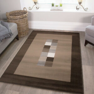 Chocolate Brown Neutral Rug Small Large Geometric Living Room Rugs