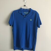 American Eagle Outfitters Men's Blue Short Sleeve Polo Shirt Size S Cotton