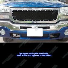 Fits 2003-2006 GMC Sierra 1500 W/Logo Covered Stainless Black Rivet Mesh Grille