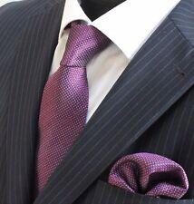 Tie Cravatta Con Fazzoletto Viola Effetto Puntini