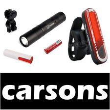 alloy front torch & rear beam back led USB rechargeable bike lights set kit cree
