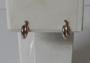 14K Petite Two-Tone Hoop Earrings